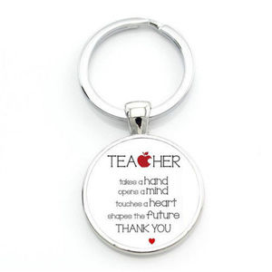 Silver Teacher Heart Apple Cabochon Key Chain Ring